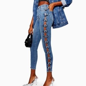 Topshop Jamie Side Seam Buckle Jeans